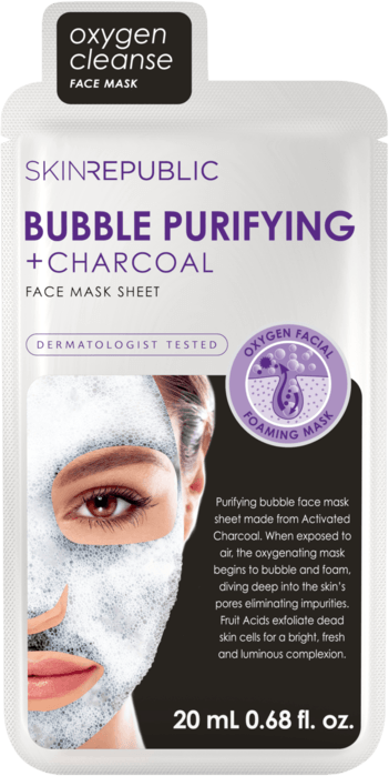 SKIN REPUBLIC Bubble Purifying + Charcoal Gesichts-Tuchmaske 20ml