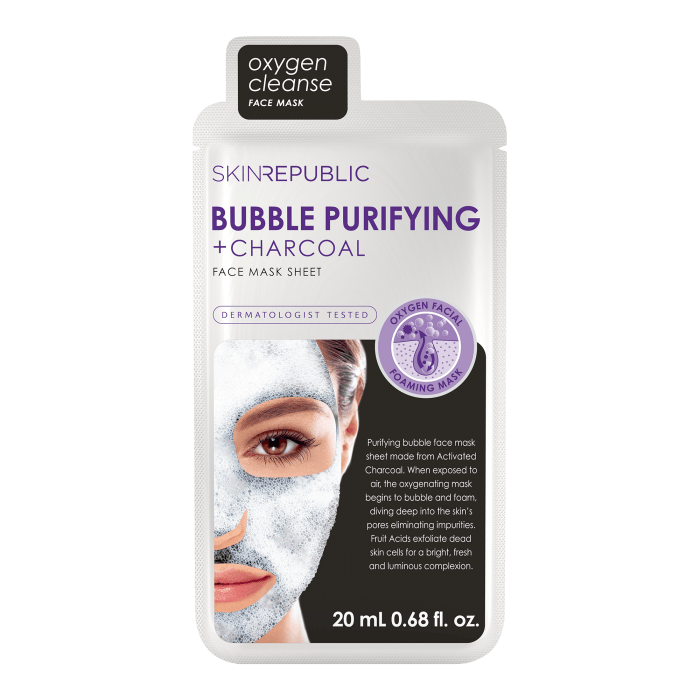 Bubble Purifying + Charcoal Gesichts-Tuchmaske 20ml