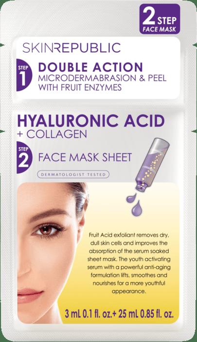 SKIN REPUBLIC 2 Step Hyaluronic Acid 3ml + Collagen Gesichts-Tuchmaske 25ml