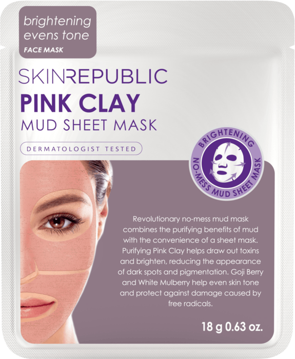 SKIN REPUBLIC Pink Clay Mud Sheet Face Mask