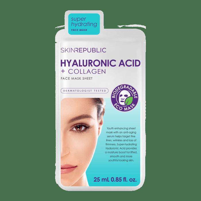 Hyaluronic Acid + Collagen Gesichts-Tuchmaske 25ml