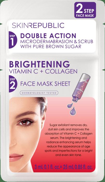 SKIN REPUBLIC 2 Step Brightening Vitamin C 3ml + Collagen Face Mask Gesichts-Tuchmaske 25ml