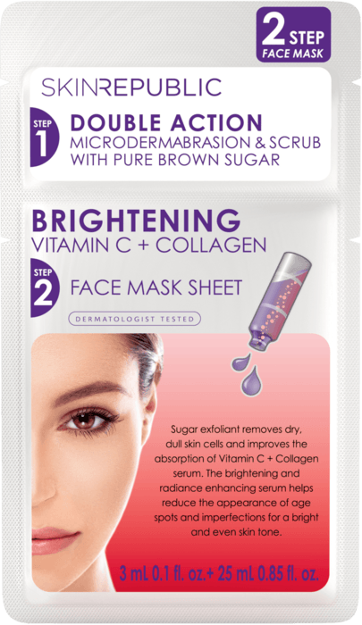 SKIN REPUBLIC 2 Step Brightening Vitamin C 3ml + Collagen Face Mask Gesichts-Tuchmaske 25ml